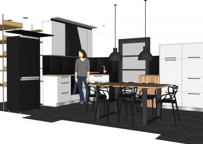 Cuisine Design à Quimperlé 29, par le faiseur de Choses, Architecte d'intérieur UFDI : Vue d'ensemble 3D.
