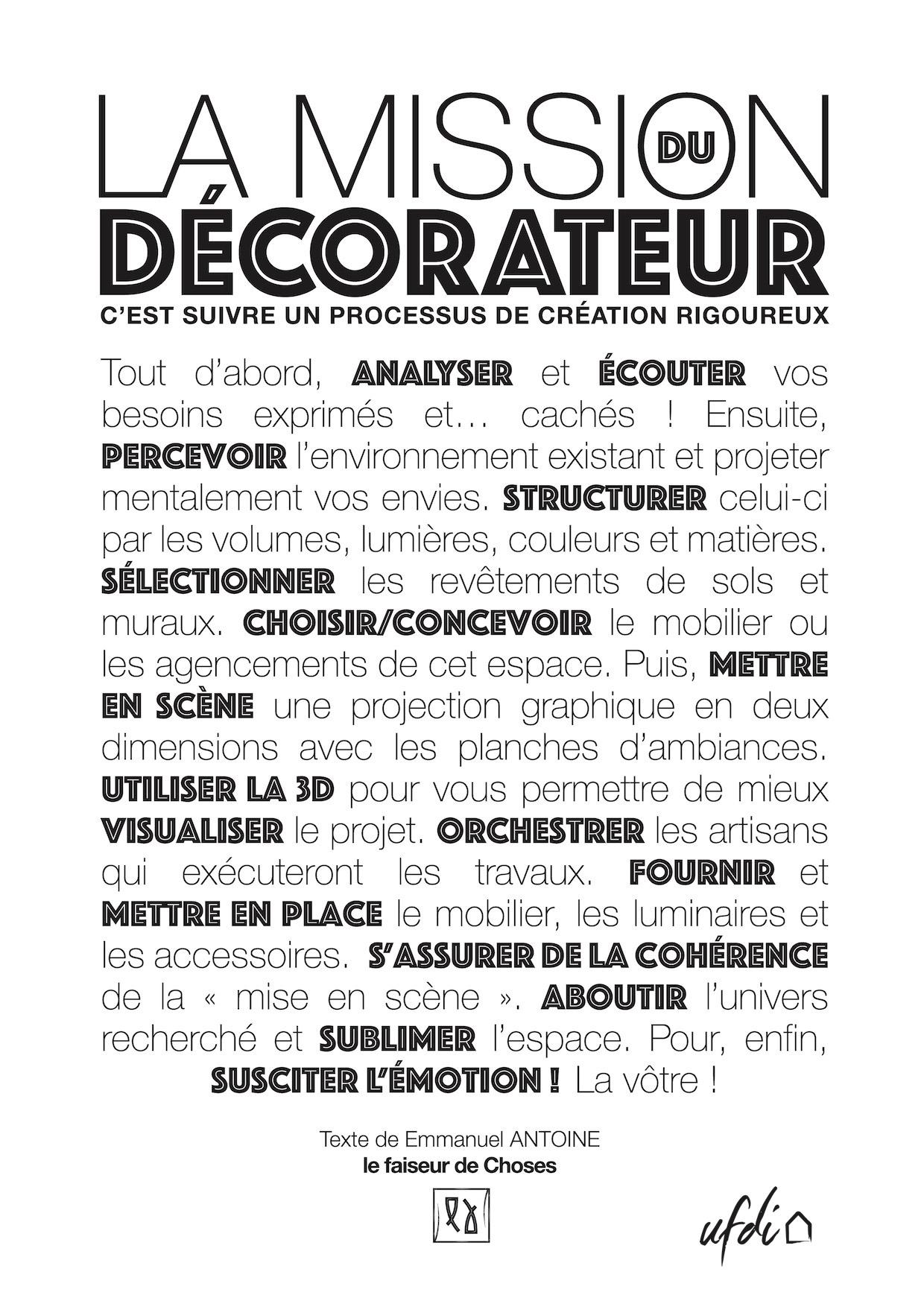 La mission du Décorateur par Emmanuel ANTOINE, Le faiseur de Choses, membre UFDI Bretagne