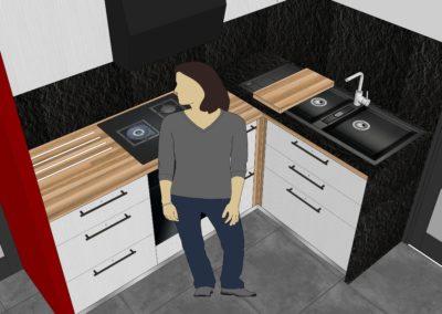 Cuisine Design à Quimperlé 29, par le faiseur de Choses, Architecte d'intérieur UFDI : Coin cuisson 3D.
