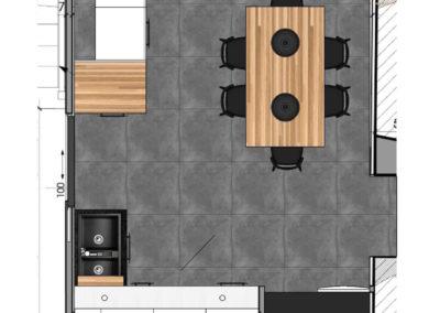 Cuisine Design à Quimperlé 29, par le faiseur de Choses, Architecte d'intérieur UFDI : Implantation 2D.